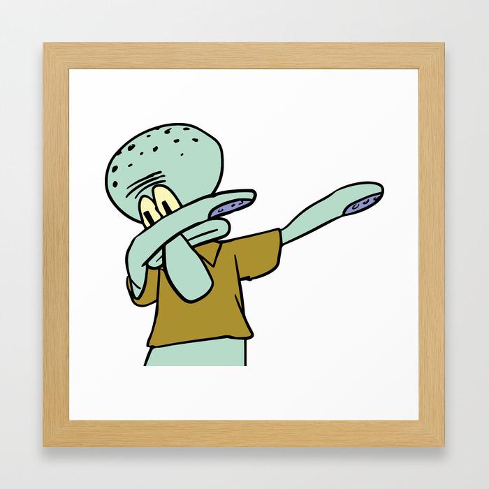 Squidward Dab Framed Art Print By Emilyosman Society6