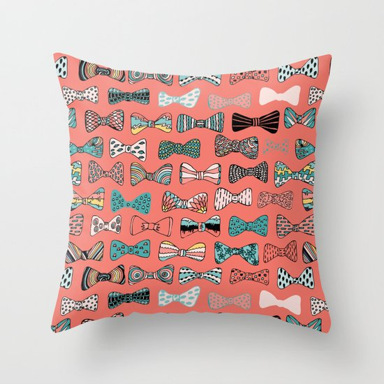 Bow tie geek in pink Throw Pillow