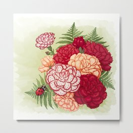 Full bloom | Ladybug carnation Metal Print