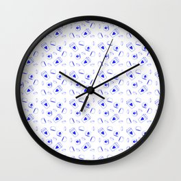 Bright Blue Coffee Pattern Wall Clock