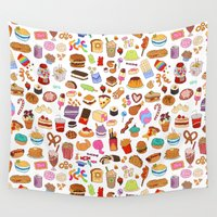 food Wall Tapestries featuring Cute food by SIINS