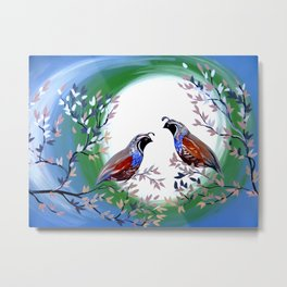 Quails and Serenity Metal Print