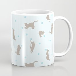 Polka Dot Cats in Blue Coffee Mug