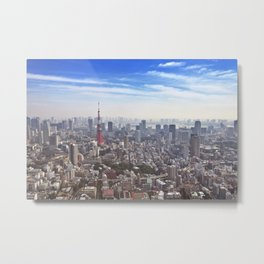 Skyline of Tokyo, Japan with the Tokyo Tower, from above Metal Print