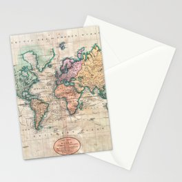 Vintage World Map 1801 Stationery Cards