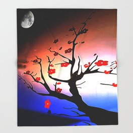 Japanese Maple Under Night Sky With Moon Throw Blanket