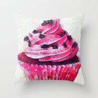 cupcake Throw Pillows featuring Cupcake by A.Aenska-Cholpanova