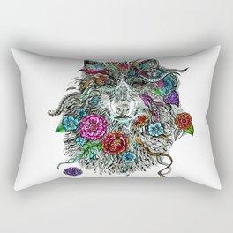 Floral Wolf. Rectangular Pillow