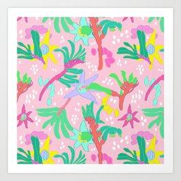 Australian Kangaroo Paw Floral in Pink Art Print