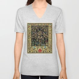 William Morris Northern Garden with Daffodils, Dogwood, & Calla Lily Floral Textile Print Unisex V-Neck