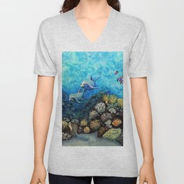 Take Me There - seascape with dolphins Unisex V-Neck