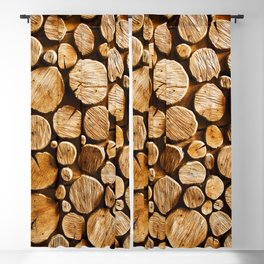 abstract wood log background close-up Blackout Curtain