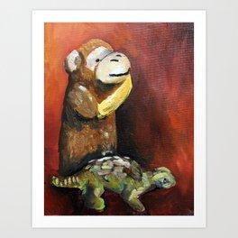 Dino and Friends Series - Monkey Art Print