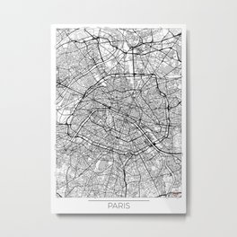 Paris Map White Metal Print
