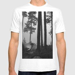 Mountain Biker in the Misty Bike Park T-shirt