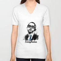 obama V-neck T-shirts featuring Obama Swag by mMel