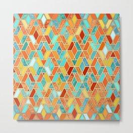Tangerine & Turquoise Geometric Tile Pattern Metal Print
