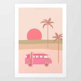Surfers Paradise Boho Beach Spot With Camper Van Art Print