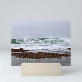 Green Waves Crashing into White Foam Mini Art Print