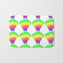 Neon Rainbow Seashell Pattern Bath Mat