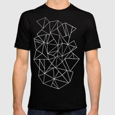Abstraction Outline Black and White Mens Fitted Tee Black MEDIUM