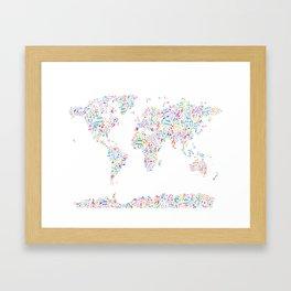 Music Notes Map of the World Framed Art Print