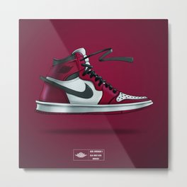 Sneaker Art Air Jordan 1 Red/ Black Metal Print