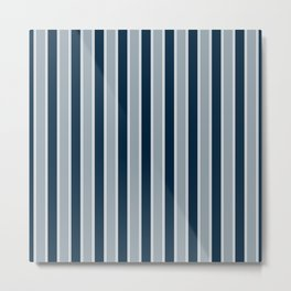 Large Vertical Christmas Midnight Navy Blue And White Bed Stripe Metal Print