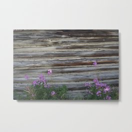 Cabin with Flowers Metal Print