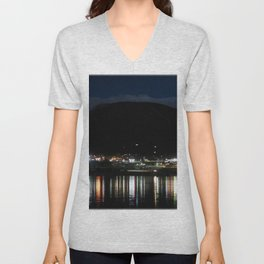 Watercolor Nightscape, Estes Park 09, Colorado, Lake Estes Brightline Unisex V-Neck