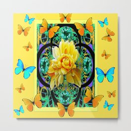 Butter Yellow Aqua  Butterflies Yellow Rose Art Metal Print
