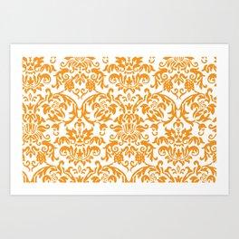 Elegant Damask Pattern (orange) Art Print