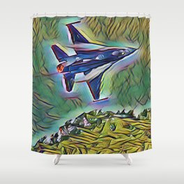 F16 Low Departure In Depth By Design Shower Curtain