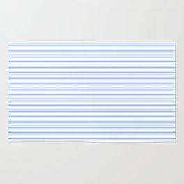 Mattress Ticking Narrow Horizontal Stripe in Pale Blue and White Rug