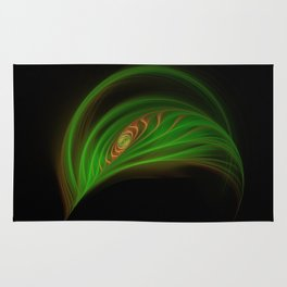 Gold Green Peacock Feather Rug