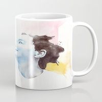 bjork Mugs featuring Splash Bjork by Emilio Correa