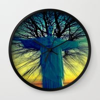 jesus Wall Clocks featuring jesus by  Agostino Lo Coco