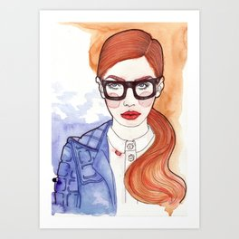 Redhead With Glasses Art Print