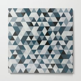 Sea Blue and Grey / Gray - Hipster Geometric Triangle Pattern 02 Metal Print
