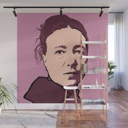 Simone de Beauvoir Red Pink Mauve Wall Mural