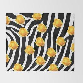 Yellow roses on zebra Throw Blanket