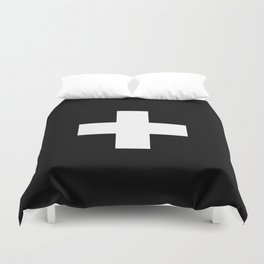 Swiss Cross Black and White Scandinavian Design for minimalism home room wall decor art apartment Duvet Cover