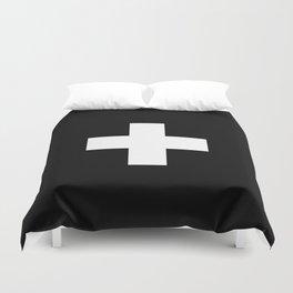 Swiss Cross Black and White Scandinavian Design for minimalism home room wall decor art apartment Duvet Cover