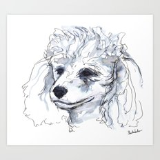 Poodle (portrait for my mom), watercolor Art Print
