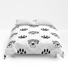 Merle Great Dane Paw Print Pattern Comforters