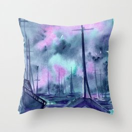 ghost boats Throw Pillow