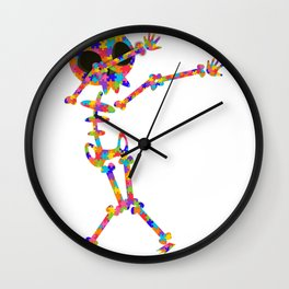 Dabbing Skeleton For Autism Wall Clock