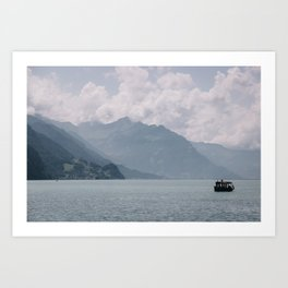 Photo of a boat Lake Brienz/Brienzersee, Berner Oberland, Suisse | Colorful travel photography | Art Print