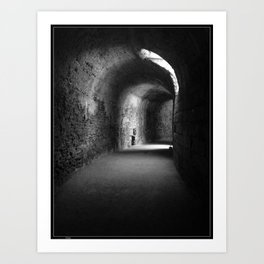 Lit Tunnel in Black and White Art Print