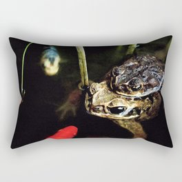 Curious Goldfish in a Pond with Frogs Rectangular Pillow
